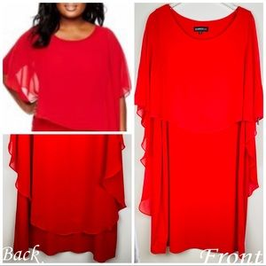 🆕Glamour Cocktail Dress Red Plus Sz Scarf Overlay